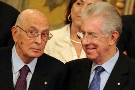 Vertice Mario Monti-Giorgio Napolitano: la soluzione alla crisi economica deve arrivare dall'Ue