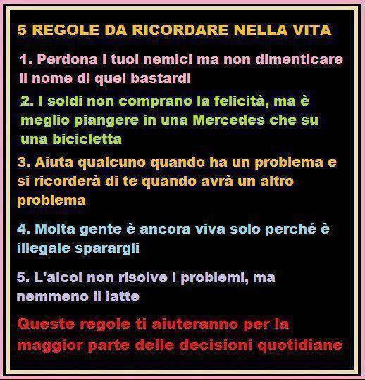 Le 5 regole della vita