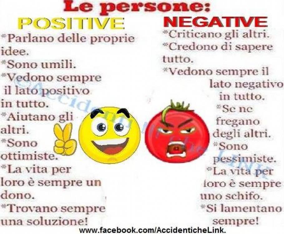 La differenza nell'essere una persona positiva oppure negativa