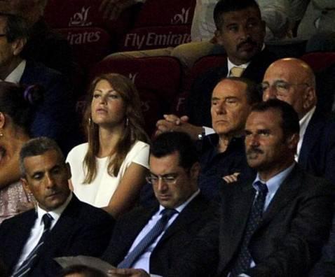 Barbara e Silvio Berlusconi e Adriano Galliani (getty images)