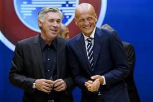 Pierluigi Collina, qui con Carlo Ancelotti (getty images)