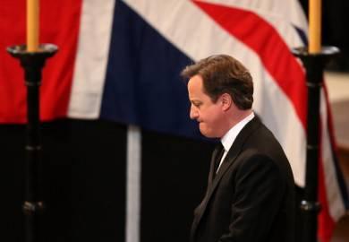 il premier David Cameron nella cattedrale di St Paul per i funerali di Margaret Thatcher (Getty Images)