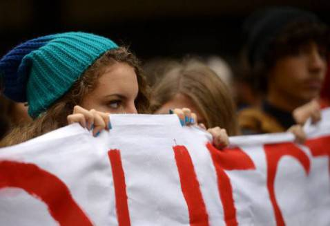 Studenti in corteo (FILIPPO MONTEFORTE/AFP/Getty Images)