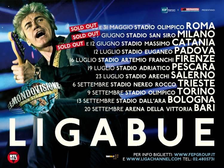 """Venerdì 30 maggio parte il""""Mondovisione Tour – Stadi 2014″ di Ligabue"""