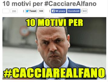 """10 motivi per #cacciarealafano"""" (Screenshot Beppegrillo.it)"""