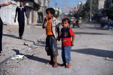 Bambini palestinesi nella Striscia di Gaza (ROBERTO SCHMIDT/AFP/Getty Images)