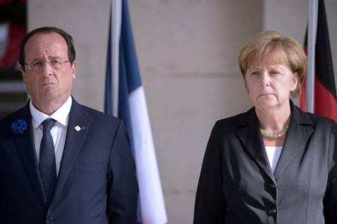 François Hollande e Angela Merkel (DIDIER LEBRUN/AFP/Getty Images)
