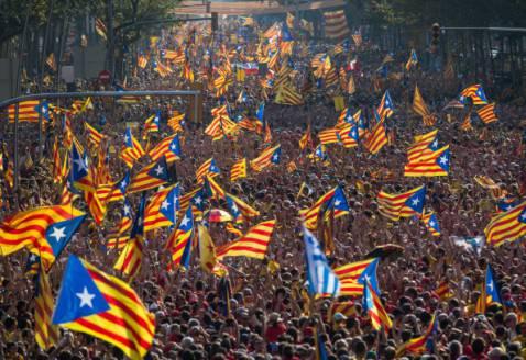 Manifestazione per l'indipendenza della Catalogna (foto David Ramos/Getty Images)