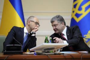 Presidente ucraino Petro Poroshenko  e il primo ministro ucraino Arseniy Yatsenyuk (Getty images)