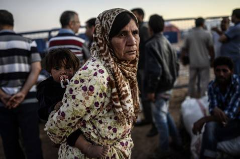 Profughi curdi siriani in Turchia (BULENT KILIC/AFP/Getty Images)