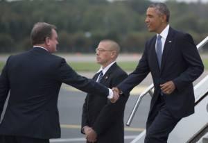 Barack Obama al suo arrivo in Estonia (Getty images)