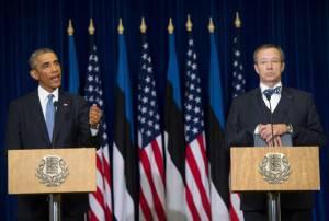Presidente Usa, Barack Obama e presidente estone, Toomas Hendrik (Getty images)