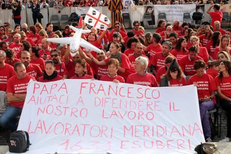 Lavoratori Meridiana dal Papa (Franco Origlia/Getty Images)