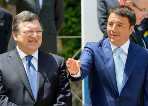 Barroso e Renzi (VINCENZO PINTO/AFP/Getty Images)