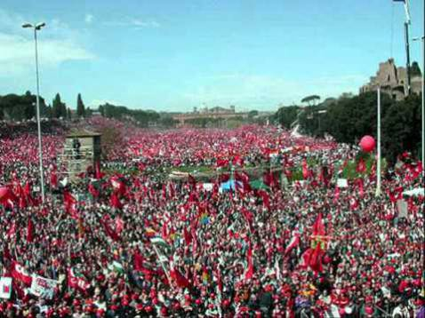 Manifestazione Cgil 23/3/2002 (screenshot Youtube)