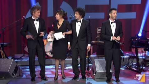 Fabi-Silvestri-Gazzé ospiti della Dandini (screenshot La7)