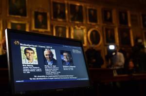 I vincitori del Nobel per la Chimica 2014: Eric Betzig, Stefan Hell e William Moerner (JONATHAN NACKSTRAND/AFP/Getty Images)