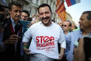 Matteo Salvini al corteo odierno (MARCO BERTORELLO/AFP/Getty Images)