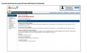 Fac-simile schermata Agenzia Entrate per 730 precompilato (screenshot sito Palazzo Chigi)