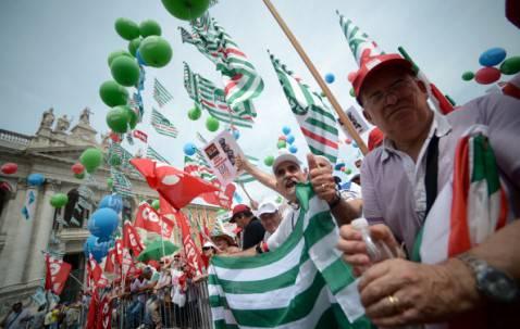 Manifestazione dei sindacati (FILIPPO MONTEFORTE/AFP/Getty Images)