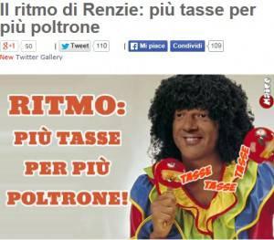 """Fotomontaggio post """"Renzie: più tasse più tasse per più poltrone"""" (screen shot beppegrillo.it)"""