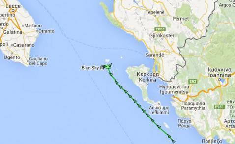La rotta della nave Blue Sky M dal sito di Marine Traffic (screenshot)
