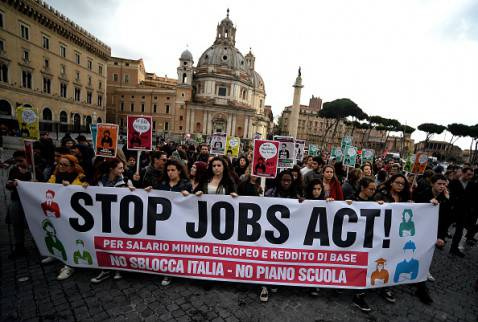 Corteo contro Jobs Act (FILIPPO MONTEFORTE/AFP/Getty Images)