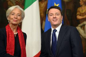 Christine Lagarde e Matteo Renzi (Alberto Pizzoli/Getty images)