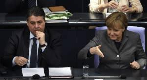 Angela Merkel e il vice cancelliere Sigmar Gabriel (TOBIAS SCHWARZ/AFP/Getty Images)