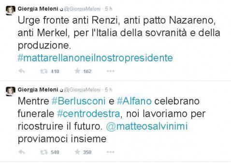 I tweet di Giorgia Meloni (screenshot)