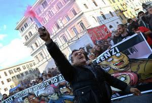 #MaiConSalvini, la testa del corteo (ALBERTO PIZZOLI/AFP/Getty Images)
