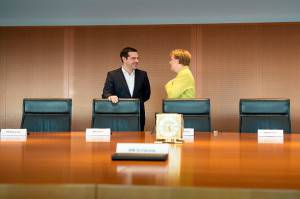 Prime Minister Tsipras Meets With Chancellor Merkel In Berlin