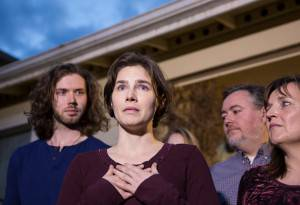 Amanda Knox dopo la sentenza (Stephen Brashear/Getty Images)