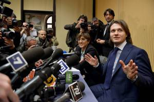 Sollecito in conferenza stampa (TIZIANA FABI/AFP/Getty Images)