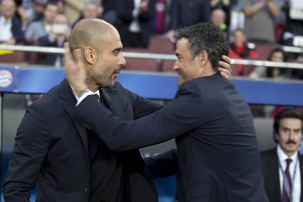 Luis Enrique e Pep Guardiola (Photo by Albert Llop/Anadolu Agency/Getty Images)