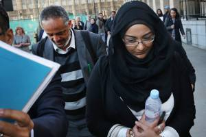 LONDON, ENGLAND - MARCH 10:  Sahima Begum (R), sister of Shamima Begum leaves Parliament with Abase Hussein (L) father of Amira Abase after attending the Home Affairs Select Committee on March 10, 2015 in London, England. Three teenagers from London have left their families and traveled to Syria to joint Islamic State fighters.  (Photo by Peter Macdiarmid/Getty Images)