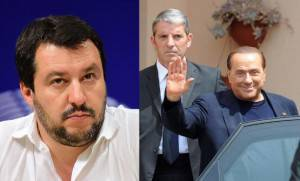 Salvini e Berlusconi (Foto Emanuel Dunand/Pier Marco Tacca/Getty Images)