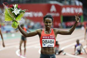 Genzebe Dibaba (Photo credit should read THOMAS SAMSON/AFP/Getty Images)