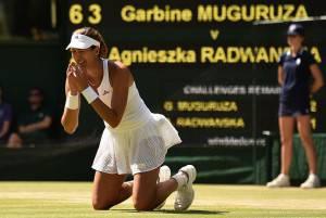 Garbine Muguruza  (Photo credit should read LEON NEAL/AFP/Getty Images)