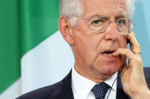 BERLIN, GERMANY - AUGUST 29:  Italian Prime Minister Mario Monti pauses during a news conference with German Chancellor Angela Merkel at the German federal Chancellory on August 29, 2012 in Berlin, Germany. Merkel and Monti discussed the crisis in the Eurozone, part of a series of meetings that Merkel has held after the summer break during heightened concerns over the economies of Italy, Greece and Spain.  (Photo by Adam Berry/Getty Images)