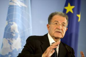 (FILES) This file picture taken on October 23, 2012 shows President of the African Union-UN peacekeeping panel Romano Prodi giving a press conference at the foreign office in Berlin. Italy's centre-left said on April 19, 2013 it would back former prime minister Romano Prodi for president in a move likely to spark a fierce battle with the centre-right and dim hopes of an end any time soon to the two-month deadlock on forming a new government.  AFP PHOTO / FILES / ODD ANDERSEN        (Photo credit should read ODD ANDERSEN/AFP/Getty Images)