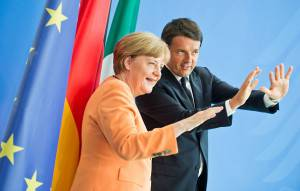 BERLIN, GERMANY - July 01: Matteo Renzi, Prime Minister of Italy, and German Chancellor Angela Merkel, attend a press conference in chancellery on on July 01, 2015 in Berlin, Germany. (Photo by Michael Gottschalk/Photothek via Getty Images)