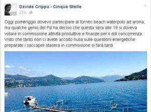 Il post di Davide Crippa (screenshot Facebook)