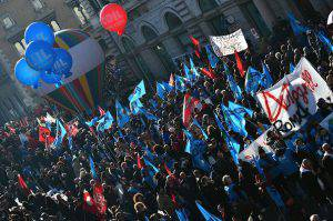 Sindacati in piazza contro Renzi (GABRIEL BOUYS/AFP/Getty Images)
