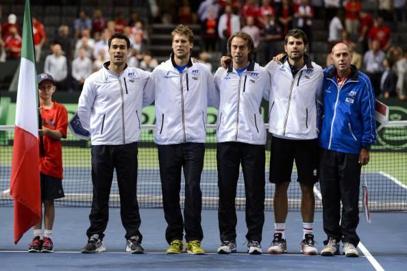 Italia di Coppa Davis   (Photo credit should read FABRICE COFFRINI/AFP/Getty Images)