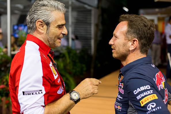 Christian Horner a colloquio con Maurizio Arrivabene (Photo by Peter J Fox/Getty Images)