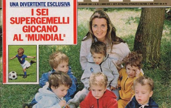 Rosanna Cavigli coi suoi figli in una copertina dell'epoca (foto dal web)