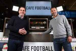 LONDON, ENGLAND - NOVEMBER 20: Gary Neville and Ryan Giggs pose during a Cook Off at Westfield Stratford City on November 20, 2013 in London, England. Former teammates Gary Neville and Ryan Giggs swapped the pitch for pans when they took part in a cook-off ahead of opening their new restaurant, Cafe Football. (Photo by Jan Kruger/Getty Images)