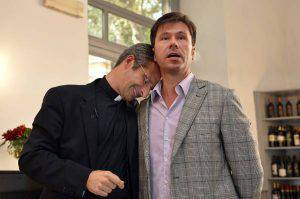 """Father Krysztof Olaf Charamsa (L), who works for a Vatican office, gives a press conference with his partner Edouard to reveal his homosexuality on October 3, 2015 in Rome. The priest said he wanted to challenge what he termed the Church's """"paranoia"""" with regard to sexual minorities, claiming the Catholic clergy was largely made up of intensely homophobic homosexuals. The Vatican condemned the coming out of a Polish priest on the eve of a major synod as a """"very serious and irresponsible,"""" act which meant he would be stripped of his responsibilities in the Church's hierarchy. In a statement, a spokesman said Krzystof Charamsa would not be able to continue in his senior position in the Vatican and that his future as a priest would be decided by his local bishop.  AFP PHOTO / TIZIANA FABI        (Photo credit should read TIZIANA FABI/AFP/Getty Images)"""