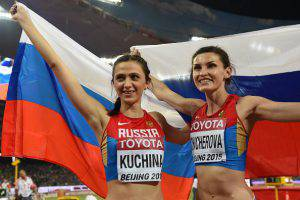 Due atlete russe (Photo credit should read FRANCK FIFE/AFP/Getty Images)